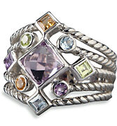 Lenox Sterling Silver Ring With 9 Multi Color Gemstones Size 8 New