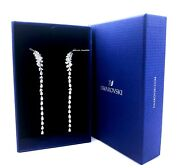 100 Authentic Rhodium White Sparkle Nice Feather Earrings 5493406