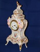 Beautiful Old Original Porcelain Clock Marked Crown + N Dresden 1a Condition