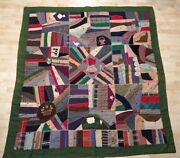 Antique Crazy Quilt Navy Chief Petty Officer Rating Badge Patch Sunbonnet Girl