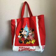 Mickey Minnie Mouse Tokyo Disneyland 25th Anniversary Tote Bag Red Used F/s