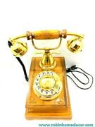 Brown Polished Rotary Chicago Antique Phone Retro Desk Telephone Classy Old Desi