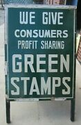 Old Consumers Profit Sharing Green Stamps Signs 2 Sided Gas Station 5 And Dime Ad