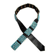 Navajo Turquoise Cluster Sterling Silver And Leather Concho Belt By Benny Pinto