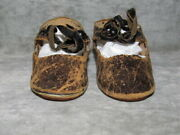 Bru Jne 14 Antique French Doll Shoes, Leather, Circa 1880's