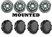 Kit 4 High Lifter Outlaw Tires 29.5x10-12 On Itp Delta Steel Silver Wheels Act