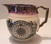 Antique Sunderland Luster Pitcher Grays Pottery Mariners Compass Sailors Tear