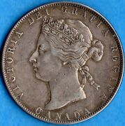 Canada 1871 50 Cents Fifty Cents Silver Coin - Vf/ef Lightly Cleaned