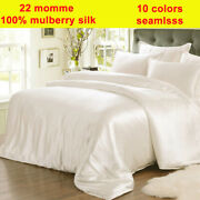 4pc 22mm 100 Pure Silk Fitted/bottom Flat/top Sheets Pillow Cases Set Seamless