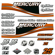 Mercury 25 Four 4 Stroke Decal Kit Outboard Engine Graphic Motor Stickers Orange