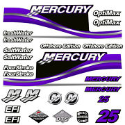 Mercury 25 Four 4 Stroke Decal Kit Outboard Engine Graphic Motor Stickers Purple