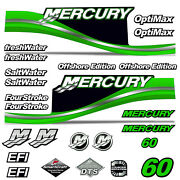 Mercury 60 Four 4 Stroke Decal Kit Outboard Engine Graphic Motor Stickers Green