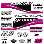 Mercury 60 Four 4 Stroke Decal Kit Outboard Engine Graphic Motor Stickers Pink