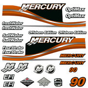 Mercury 90 Four 4 Stroke Decal Kit Outboard Engine Graphic Motor Stickers Orange