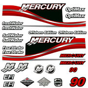 Mercury 90 Four 4 Stroke Decal Kit Outboard Engine Graphic Motor Stickers Red