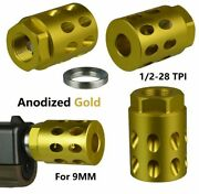 Db Tac 1/2and039and039x28 Tpi Thread Muzzle Brake Anodized Gold Color For 9mm