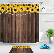 Rustic Wooden Boards And Sunflowers Shower Curtain Set Waterproof Fabric Hooks
