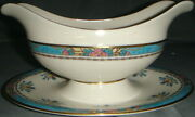Lenox Blue Tree Gravy Boat W/attached Underplate