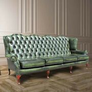 Chesterfield 4 Seater Flat Queen Anne High Back Wing Sofa Antique Green Leather