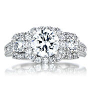 Round 950 Platinum 1.40 Ct Women Real Solitaire Diamond Engagement Ring Size 11