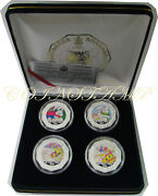 1999 Zambia, 1000 Kwacha, Year Of Rabbit, Color Pf Silver Coin, 4 Coins Set