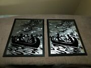 Starry Night Canoe Romance Silhouette Picture Pair Patterned Foil Vintage