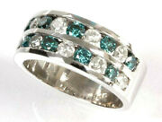 1.5 Ctw Natural Blue And White Diamond Solid 14k White Gold 2 Row Alternating Ring