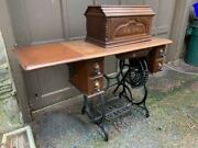 1880's New Home Cast Iron Sewing Machine Treadle Base Walnut Coffin Top Table
