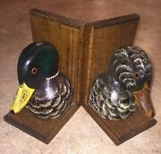 Max Thompson Mallard Duck Bookends Hand Painted Signed