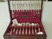 Vintage Flatware Set For 12 Holmes And Edwards Inlaid Silverplate Lovely Lady 1937