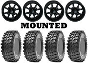 Kit 4 Maxxis Rampage Tires 32x10-14 On Frontline 556 Stealth Matte Black 1kxp
