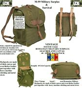 Vintage New Old Stock Romanian Army Canvas Backpack W/ Leather Shoulder Straps
