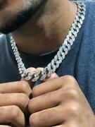 Mens Ice Ice Out Miami Cuban Link Chain 14k Rhodium Finish Bling Silver Jewelry