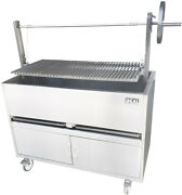 New. 48 Argentinian Raised Charcoal Grill. Made In Usa By Ekono. Cabinet Base.