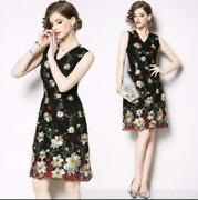 2002 Women Ladies Fashoin V-neck Sleeveless Embroidery Dress Gown Party Prom