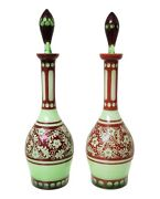Rare Antique Josephinenhutte Bohemian Green Glass Red Overlay Pair Of Decanters
