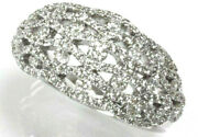 1 Ctw Natural Diamond Solid 14k White Gold Wide Braided Statement Cocktail Ring
