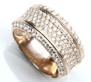 1.2 Ctw Natural Diamond Solid 14k Rose Gold Wide Pave Set Convex Wedding Ring