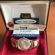 Elgin Antique Mens Wrist Watch 60s Vintage With Box Overhauled F/s From Japan