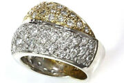 2 Ctw Natural Diamond Solid 14k 2 Tone Gold Wide Twisted Braided Statement Ring