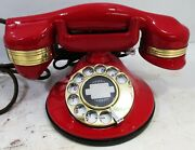 Automatic Electric Round Base Model 40 Circa 1929 Telephone Red