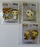 Disney Pop Beauty And The Beast Lumiere Cogsworth Mrs. Potts Chip Enamel Pins