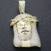 2d Jesus Micro Pave Encrusted 14k Gold Layered Pendant