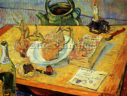Still Life Drawing Board Pipe Onions Sealing Wax Artist Painting Canvas Repro