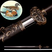 40 Mandarin Duck Double Soft Sword Traditional Hand Forged Pattern Steel 0080