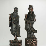 Large Set Ca 1900 Chinese Carved Wood Statues Gilded Immortal And Guanyin[...