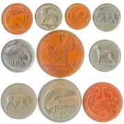 10 Irish Coins. Old Ireland Money Collection Penny Pence Florin Shilling
