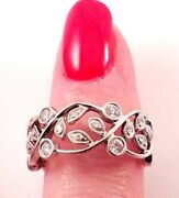 Stunning Hawaiian-inspired 14kt White Gold Flower And Leaf Wedding Band Ring, 7