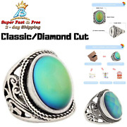 Women Vintage Rings Mood Ring Changing Color Antique Sterling Silver Plated
