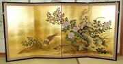 Japanese Traditional Hand Painted Byobu Gold Leaf Folding Screen - T3